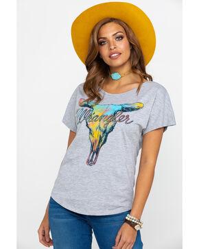 Wrangler Women's Steer Head Graphic Tee , Grey, hi-res