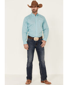 Ariat Men's Fenn Stretch Geo Print Long Sleeve Button-Down Western Shirt - Big, Turquoise, hi-res