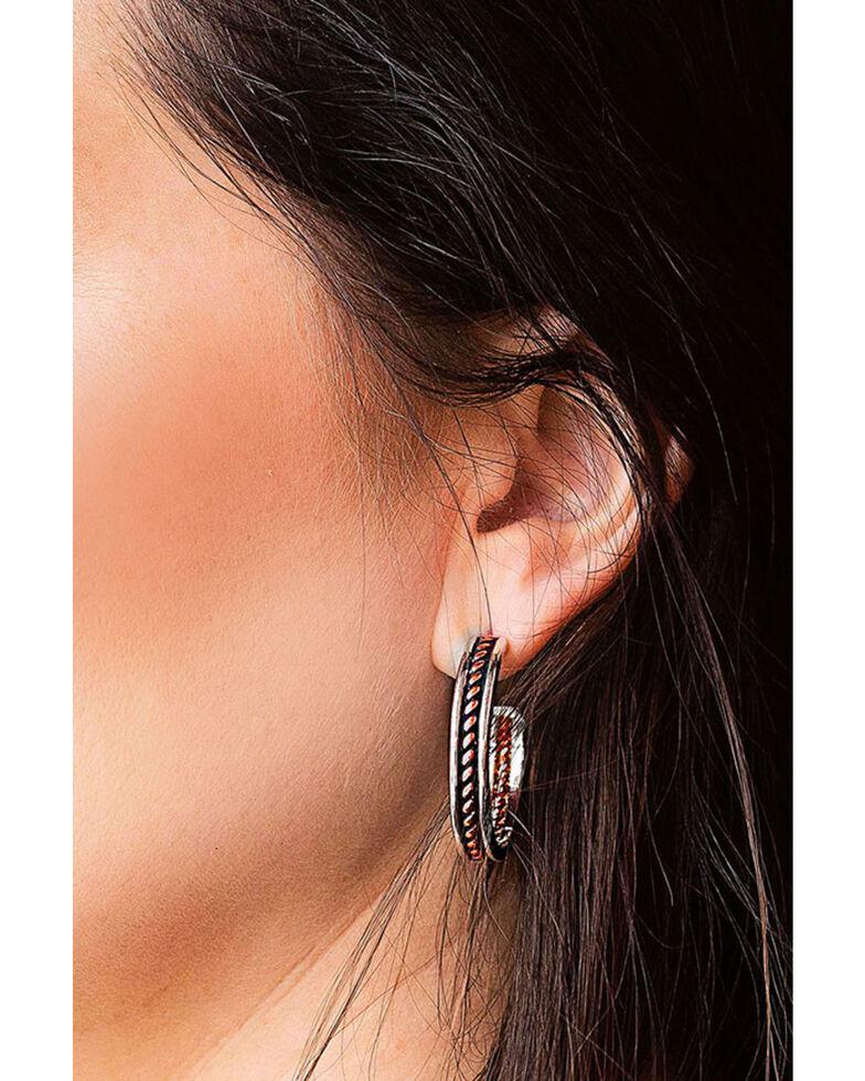 Montana Silversmiths Women's Inner Strength Rope Hoop Earrings, Multi, hi-res