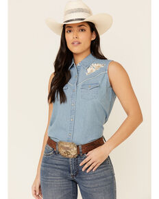Ely Walker Women's Denim Floral Embroidered Sleeveless Snap Western Core Shirt , Blue, hi-res