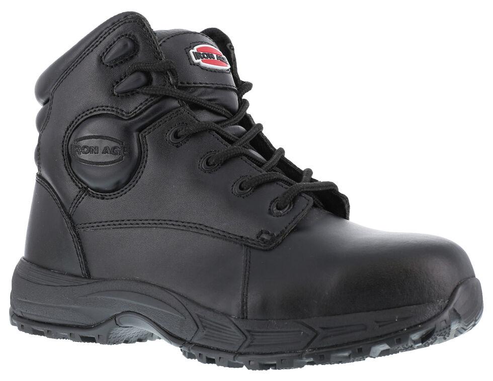 Iron Age Men's Ground Finish Work Boots - Steel Toe, Black, hi-res