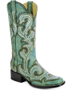 Corral Turquoise Studded and Embroidered Cowgirl Boots - Square Toe, Turquoise, hi-res