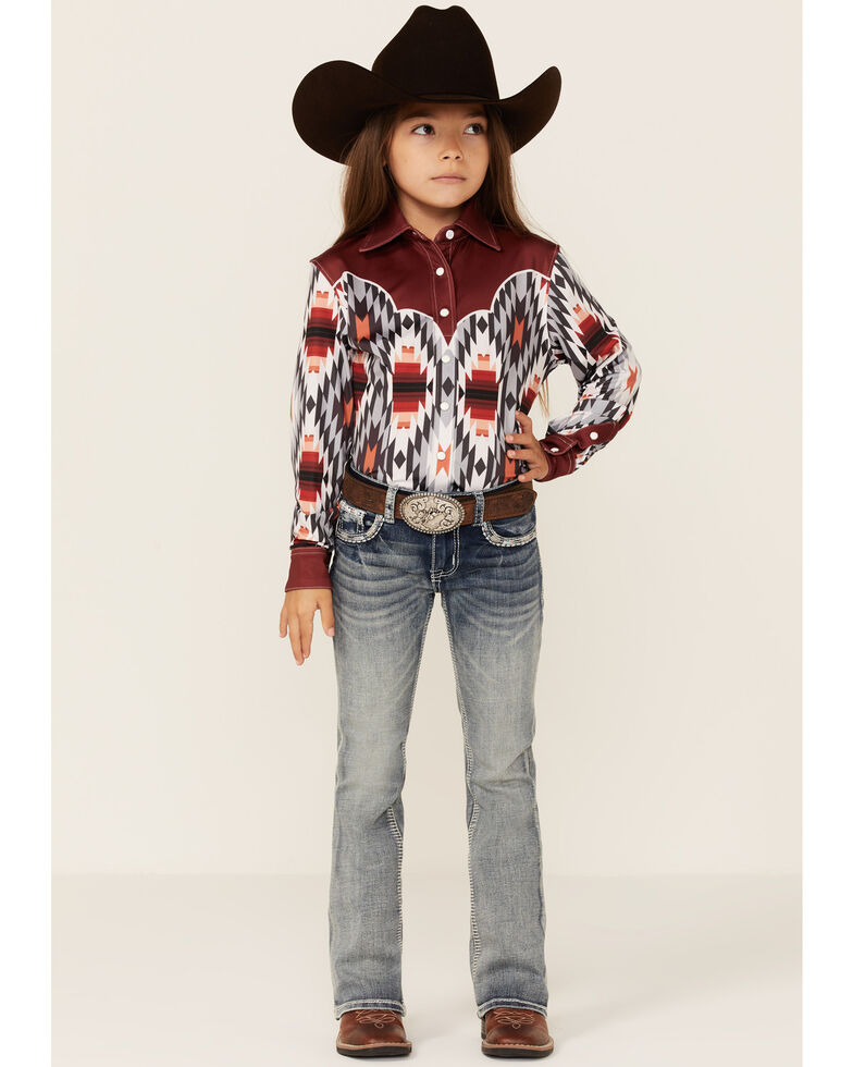 Ranch Dress'n Girls' Ember Aztec Print Long Sleeve Snap Western Shirt , Multi, hi-res