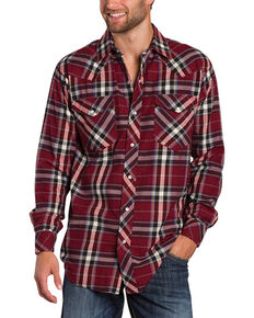 Resistol Men's Double R Gillete Plaid Long Sleeve Shirt, Dark Red, hi-res