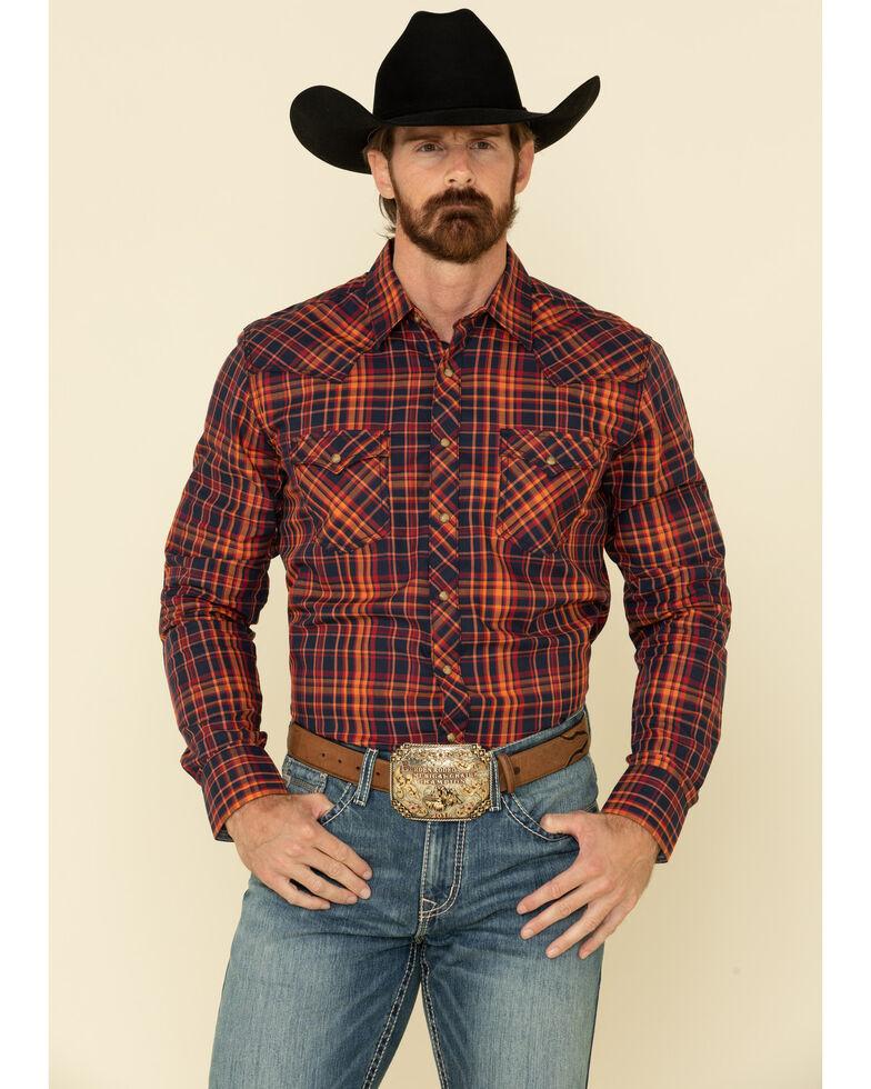 Wrangler Retro Premium Men's Navy Med Plaid Long Sleeve Western Shirt , Navy, hi-res