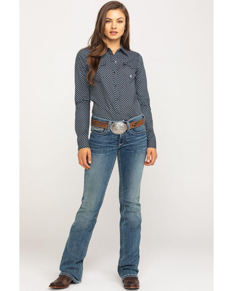 Amarillo Women's Black Geo Print Long Sleeve Western Shirt, Black, hi-res