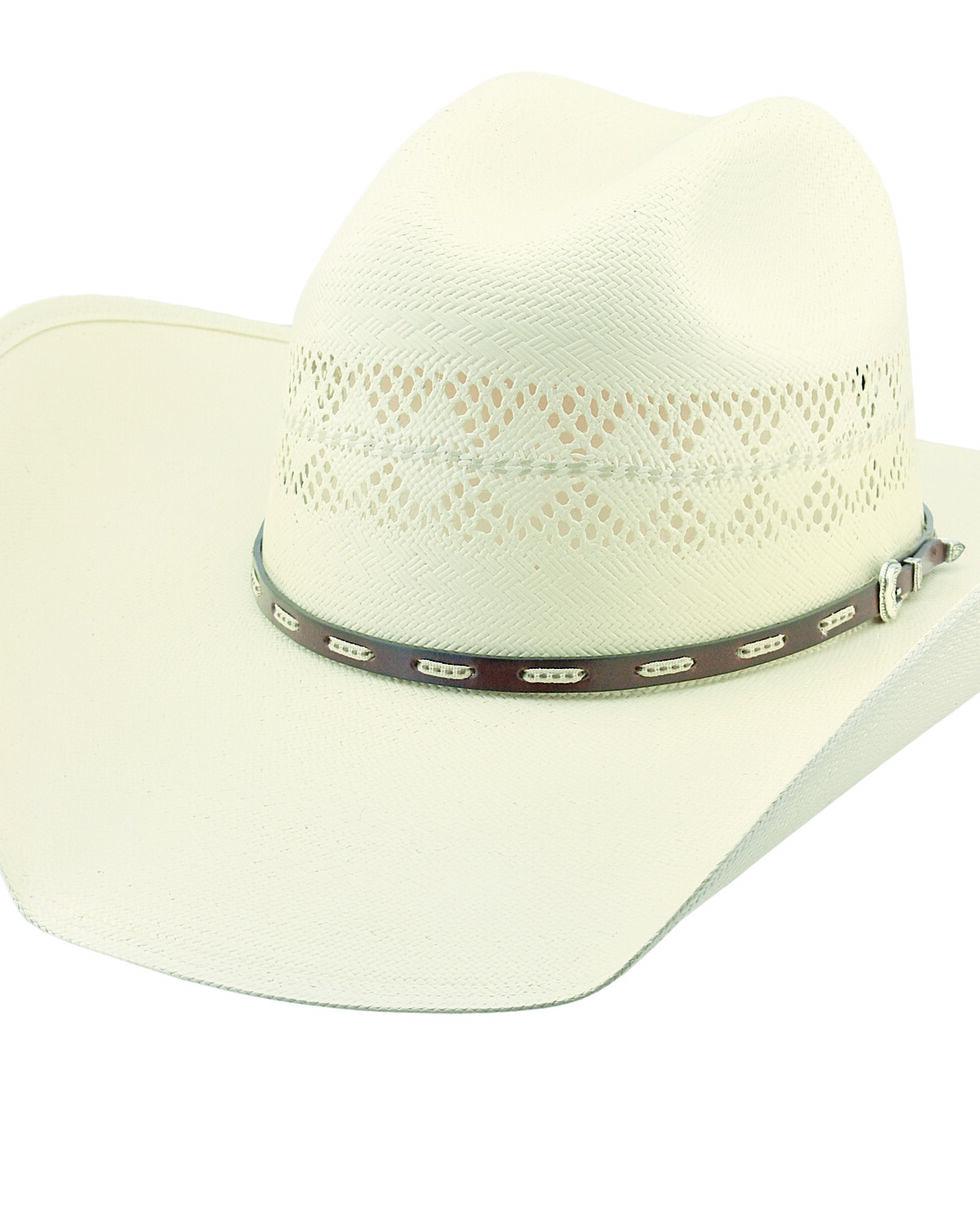 Larry Mahan Men's 10X Buckhorn Vent Straw Hat, Ivory, hi-res