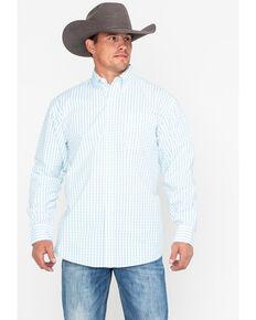George Strait by Wrangler Men's White Small Plaid Long Sleeve Western Shirt, White, hi-res