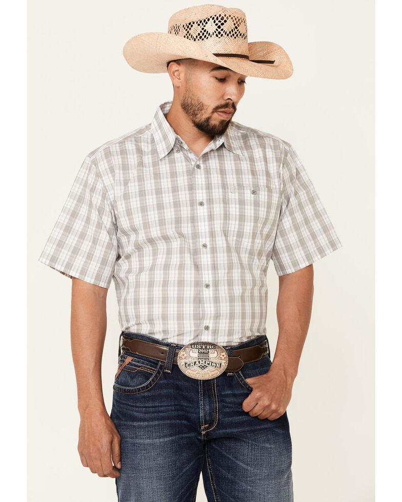 Wrangler Men's Grey Plaid Short Sleeve Button-Down Western Shirt , Grey, hi-res