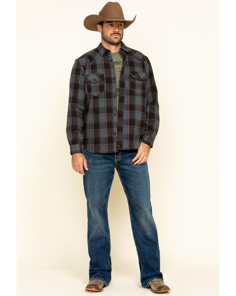 Cody James Men's Eureka Plaid Sherpa Bonded Long Sleeve Western Flannel Shirt , Brown, hi-res