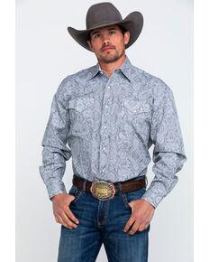 Stetson Men's Grey Paisley Print Long Sleeve Western Shirt , Grey, hi-res