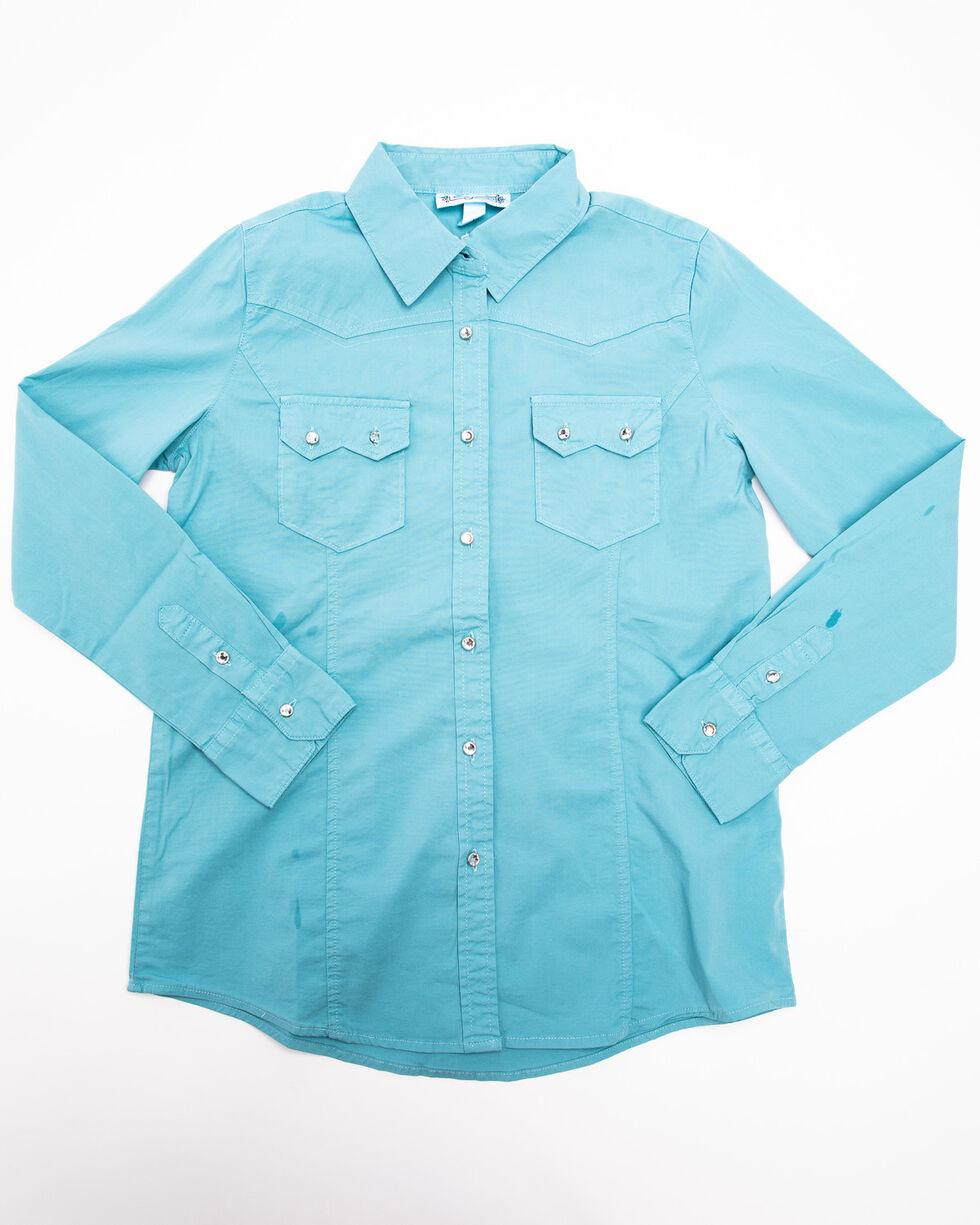 Shyanne Girls' Mineral Wash Solid Long Sleeve Western Shirt, Teal, hi-res