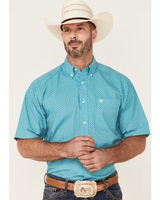 Ariat Men's Franz Geo Print Short Sleeve Button-Down Western Shirt - Tall , White, hi-res