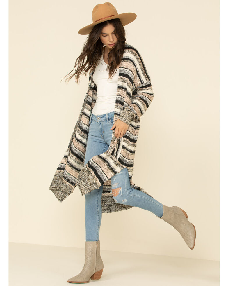 By Together Women's Tan Striped Open Front Duster Cardigan, Tan, hi-res