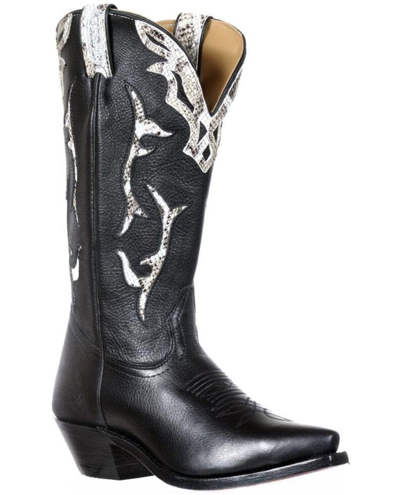 Boulet Women's Reticulus White Imitation Western Boots - Snip Toe, Black, hi-res