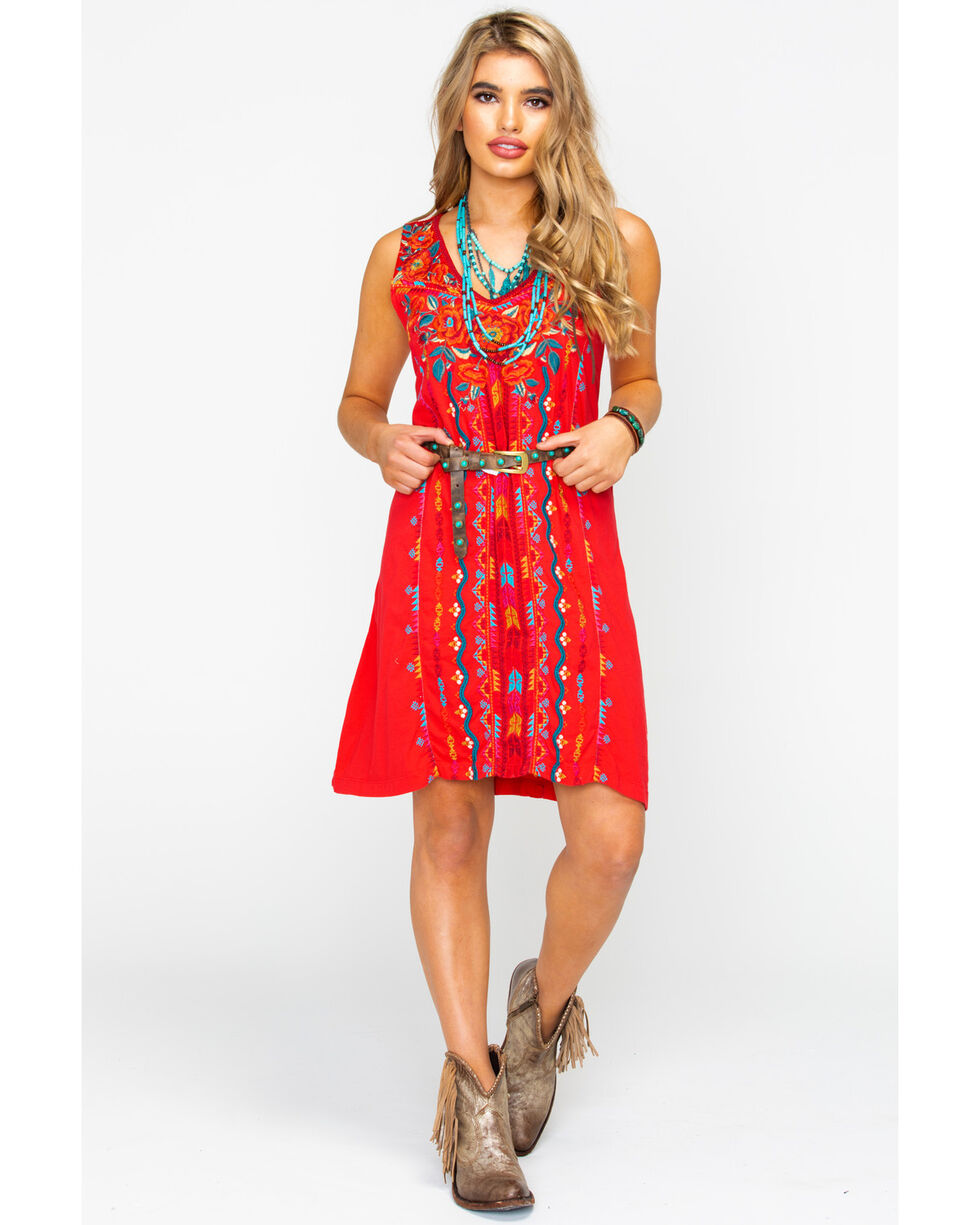 Johnny Was Women's Ornella Yoke Tank Tunic Dress, Red, hi-res