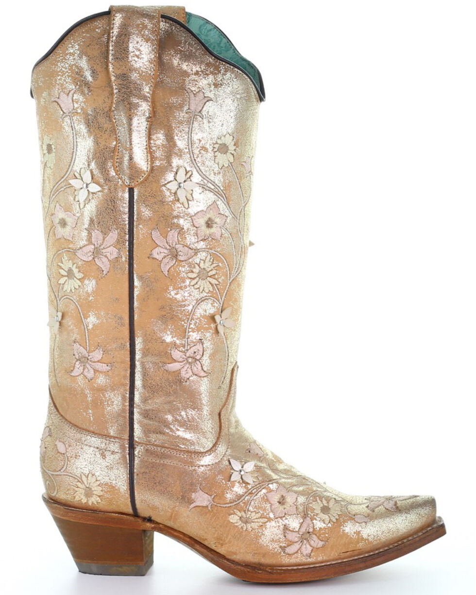 Corral Women's Golden Floral Embroidery Western Boots - Snip Toe, Gold, hi-res