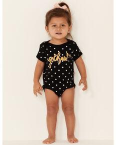 Rodeo Quincy Infant Girls' Black Polka Dot Yee Haw Graphic Short Sleeve Onesie, Black, hi-res