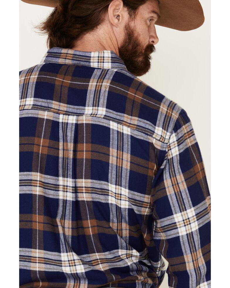 Wrangler Rugged Wear Men's Blue Ridge Flannel Long Sleeve Western Shirt , Blue, hi-res