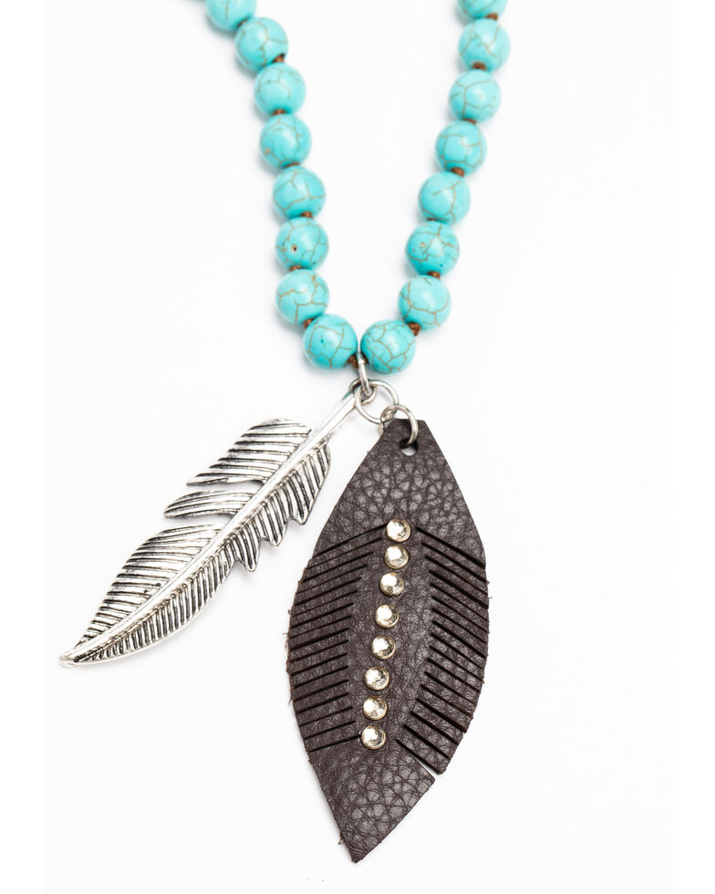 Shyanne Women's Hidden Treasure Leather Feather Pendant Beaded Necklace, Silver, hi-res