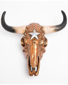 BB Ranch Metallic Rustic Cow Skull Wall Decor, Bronze, hi-res