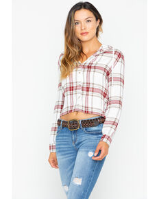 dc0a53ce4548fe White Crow Women s Plaid Cropped Hoodie
