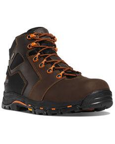 "Danner Men's Brown & Orange Vicious 4.5"" Composite Work Boot - Round Toe , Brown, hi-res"