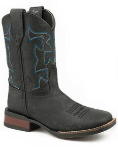 Roper Youth Boys' Black Western Boots - Square Toe, Black, hi-res
