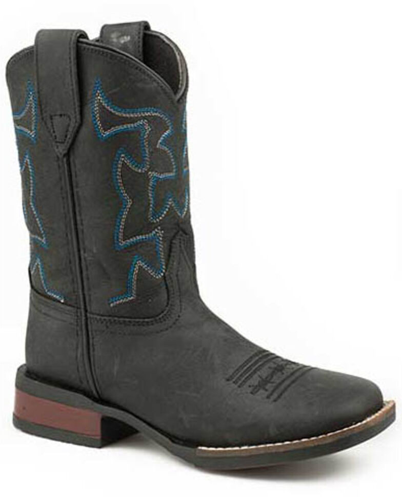 Roper Youth Boys' Black Western Boots - Square Toe, Black, hi-res
