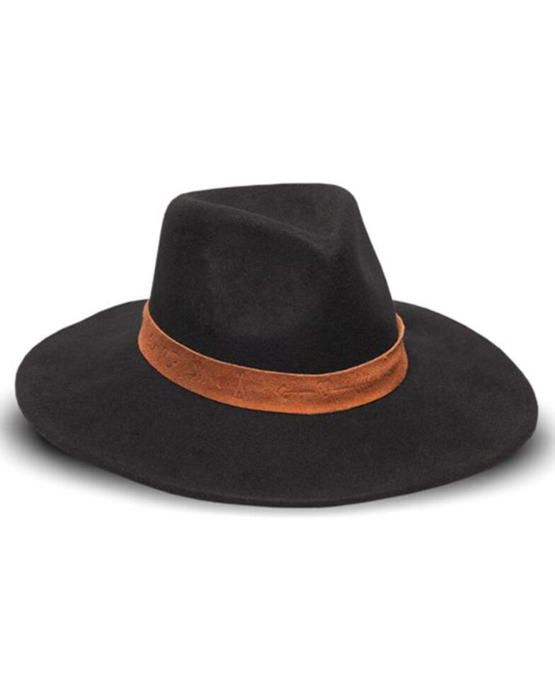 Nikki Beach Women's Breanna Embossed Suede Band Wool Felt Western Hat, Black/tan, hi-res