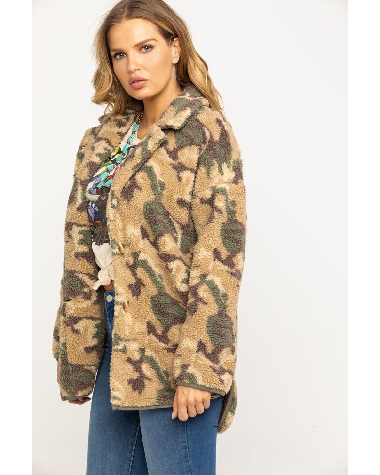 Mystree Women's Green & Tan Camo Sherpa Coat , Camouflage, hi-res