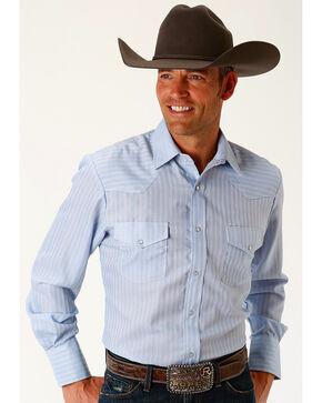 Roper Men's Blue Tone On Tone Stripe Long Sleeve Western Snap Shirt, Blue, hi-res