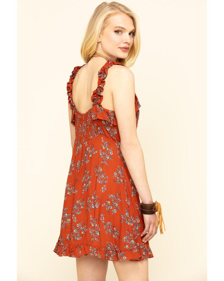 Nikki Erin Women's Rust Floral Ruffle Strap Dress , , hi-res