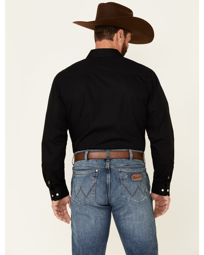 Cinch Men's Modern Fit Solid Black Long Sleeve Button-Down Western Shirt , Black, hi-res