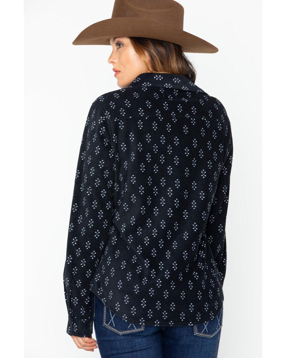 Wrangler Women's As Real As Fleece Button Down Long Sleeve Top , Black, hi-res