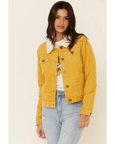 Boom Boom Jeans Women's Corduroy Sherpa Lined Denim Jacket , Mustard, hi-res