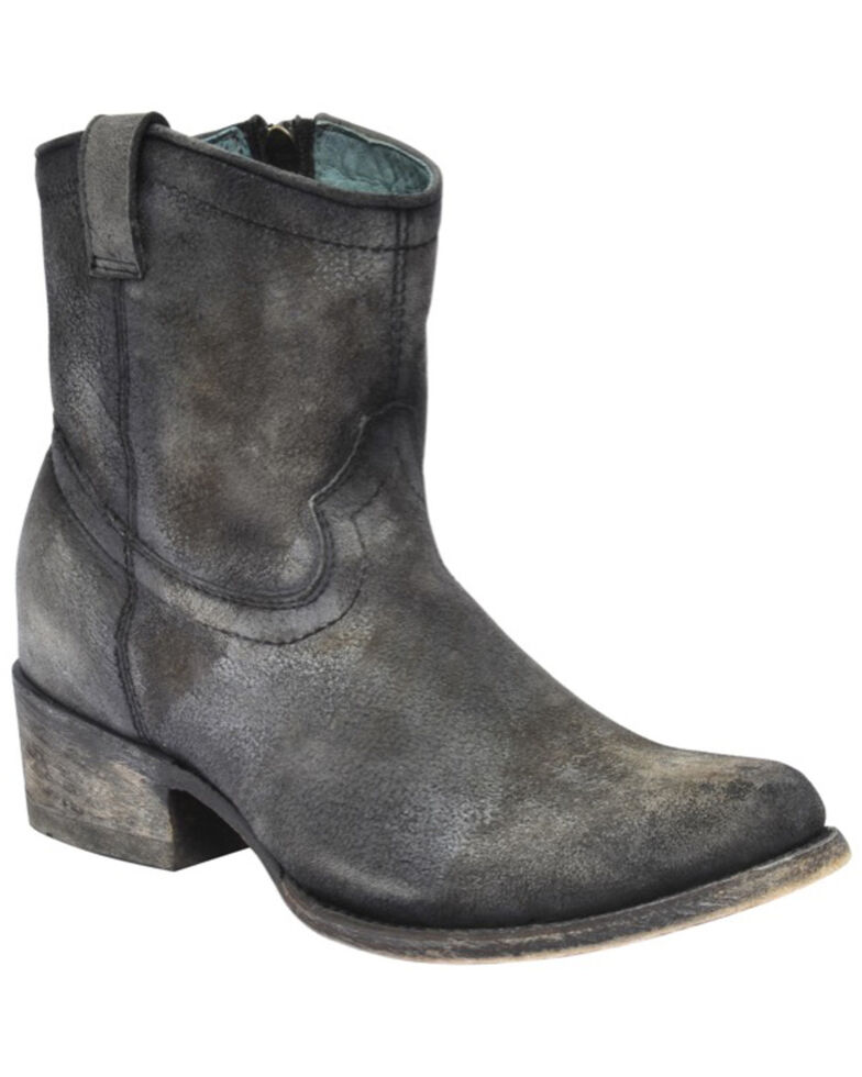 Corral Women's Grey Lambskin Leather Western Booties - Round Toe, Grey, hi-res