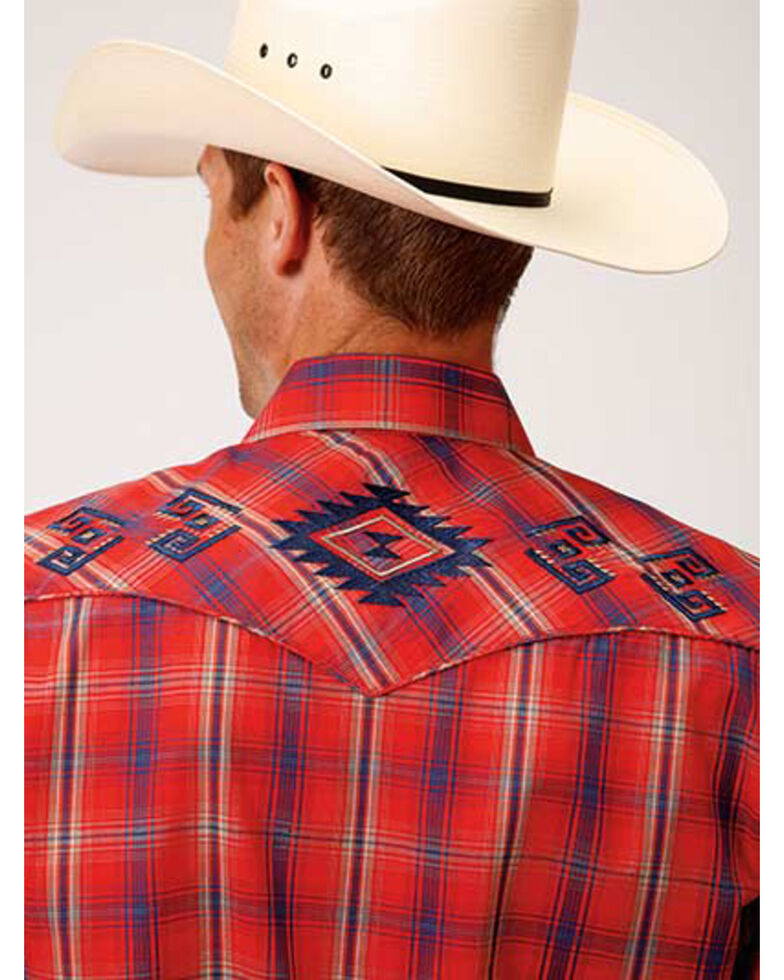 Roper Men's Red Plaid Aztec Embroidered Long Sleeve Western Shirt , Red, hi-res