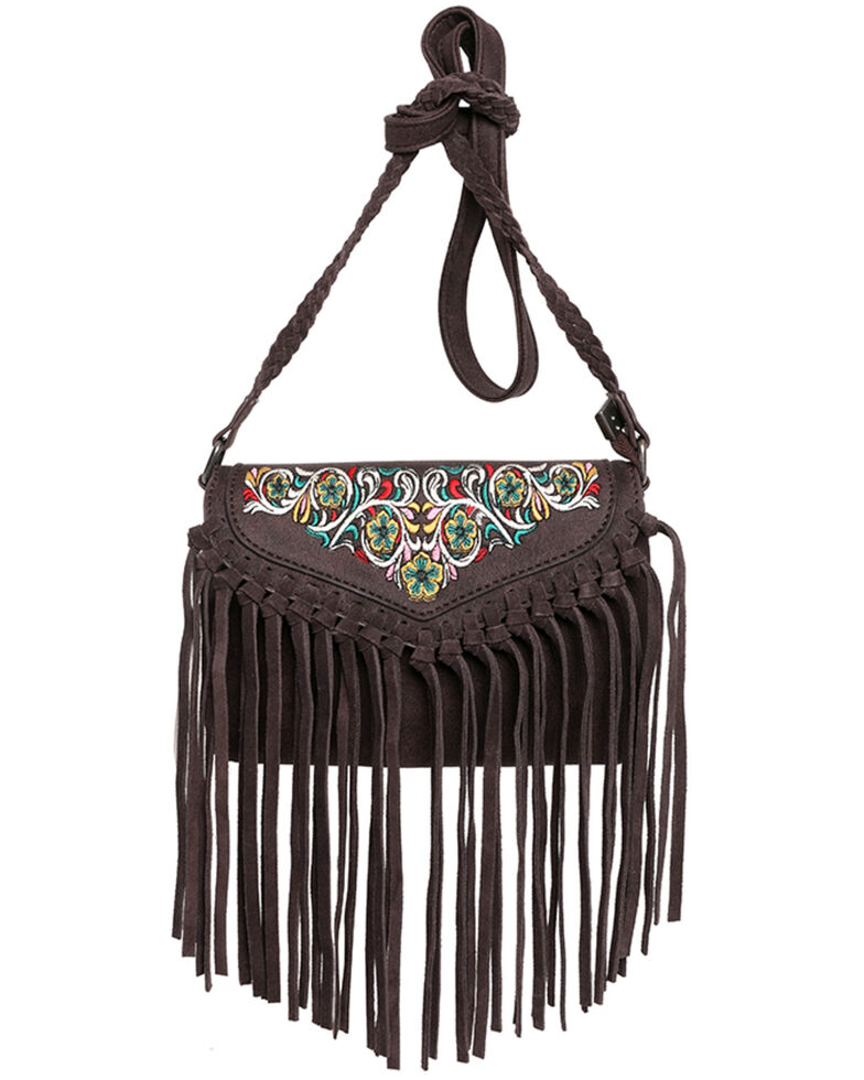 Montana West Women's Wrangler Dragon Fringe Crossbody Bag, Coffee, hi-res