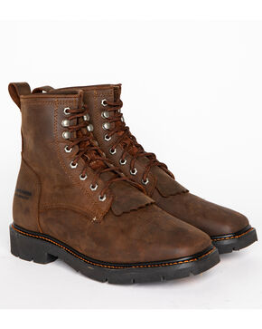 "Cody James Men's 8"" Waterproof Lace-Up Kiltie Work Boots - Square Toe, Brown, hi-res"