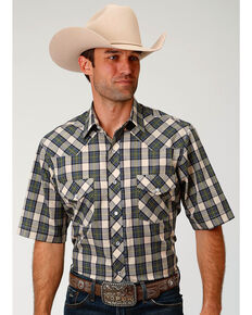 Roper Men's Tan Plaid Short Sleeve Western Snap Shirt, Tan, hi-res