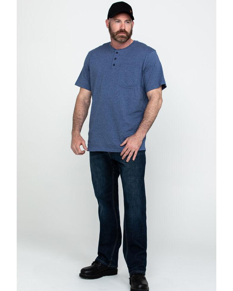 Hawx® Men's Pocket Henley Short Sleeve Work T-Shirt , Heather Blue, hi-res