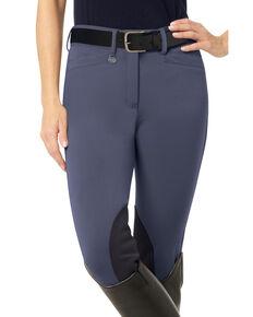 Ovation Women's Teen Celebrity DX Knee Patch Breeches, Indigo, hi-res