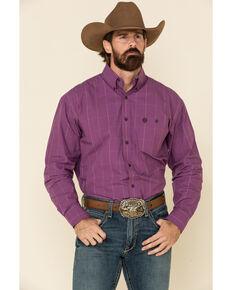 George Strait By Wrangler Men's Plum Micro Check Plaid Long Sleeve Western Shirt - Big , Purple, hi-res