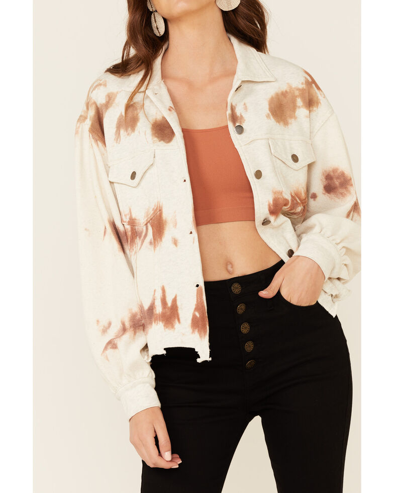 POL Women's Rust Copper Tie-Dye Button-Front Jacket , Rust Copper, hi-res