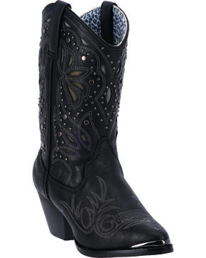 Dingo Annabelle Women's Retro Western Boots - Pointed Toe, Black, hi-res