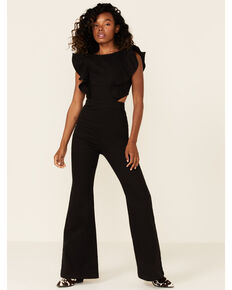 Flying Tomato Women's Denim Ruffle Sleeve Jumpsuit , Black, hi-res