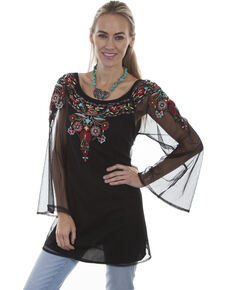 6927dcce49dd75 Honey Creek by Scully Women s Black Sheer Floral Embroidered Long Sleeve Top