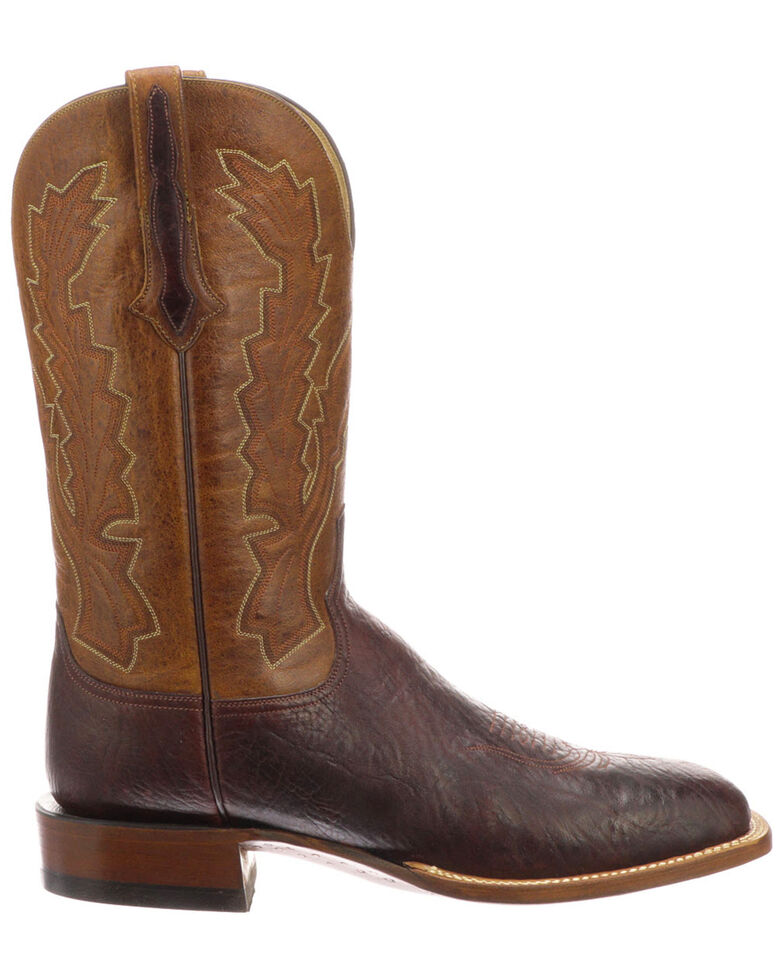 Lucchese Men's Bond Western Boots - Wide Square Toe, Chocolate, hi-res