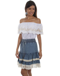 f543788126dd96 Honey Creek by Scully Women s Denim Lace Trim Skirt